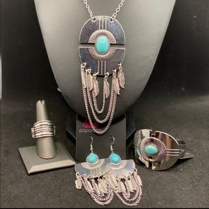 Turquoise and silver set